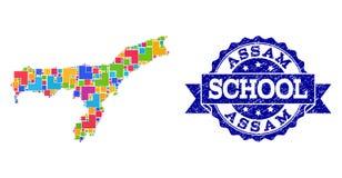 Mozaïekkaart van Assam-de Verbindingssamenstelling van de Staat en Grunge-van de School royalty-vrije illustratie