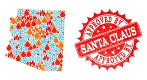 Mozaïekkaart van de Staat van Arizona van Vlam en Sneeuwvlokken en Goedgekeurd door Santa Claus Scratched Seal vector illustratie