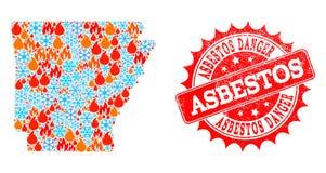 Mozaïekkaart van de Staat van Arkansas van Brand en Sneeuw en Asbest de Zegel van de Gevaarsnood vector illustratie