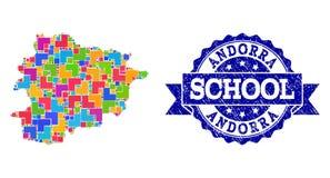 Mozaïekkaart van de Verbindingssamenstelling van Andorra en Grunge-van de School royalty-vrije illustratie