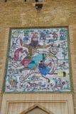 Mozaïekmuurschildering in Arg van Karim Khan in Shiraz, Iran royalty-vrije stock foto's