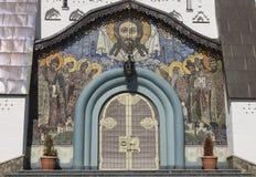 Mozaïekpictogram van Jesus op de voorgevel in kerk Stock Fotografie