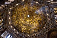 Mozaïekplafond van Florence Baptistery van San Giovanni Battistero di San Giovanni in Florence, Toscanië stock afbeeldingen