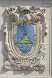 Mozaïekschild van beroemde havenstad Montevideo bij de voorgevel van de Vreedzame de Lijnen van Verenigde Staten lijn-Panama Bouw Stock Foto's