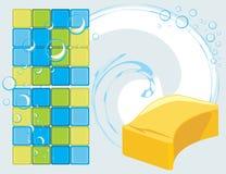 Mozaïektegels en spons met zeepachtige bellen op  royalty-vrije illustratie