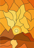 Mozaïekzonsondergang en bergen Royalty-vrije Stock Afbeelding