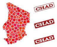 Moza?ekkaart van Tsjaad en de Gekraste Collage van de Schoolzegel vector illustratie