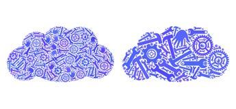 Mozaik Obłoczne ikony Usługowi narzędzia royalty ilustracja