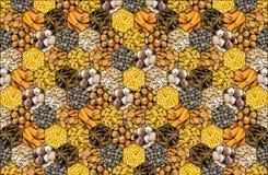 Mozaik pikantność czarne i całego dokrętki migdałowego hazelnut brezentowa niekończący się panorama fragrant pieprzowego kija cyn Fotografia Stock