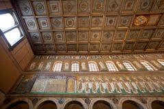 Mozaika Classe miasteczko na lewicy ścianie w Sant Apollinare Nuovo, Rav Zdjęcie Royalty Free