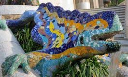 Mozaika jaszczur. Barcelona punkt zwrotny, Hiszpania. Obrazy Royalty Free