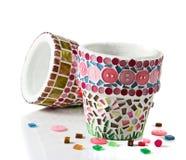 Mozaika kwiatu garnek Fotografia Stock