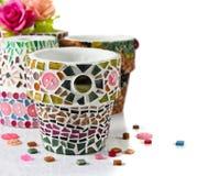 Mozaika kwiatu garnek Fotografia Royalty Free