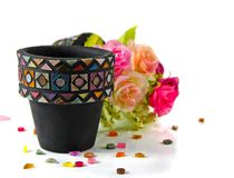 Mozaika kwiatu garnek Obrazy Stock