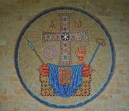 Mozaika na kamiennej ścianie z chrześcijańskimi symbolami Obrazy Royalty Free
