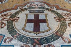 Mozaika na podłoga Galleria Vittorio Emanuele przedstawia Milę zdjęcia stock