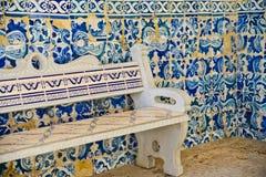 Mozaika wzór i ceramiczna ławka zdjęcia royalty free