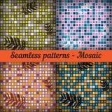 Mozaika z palmowymi liśćmi wzór bezszwowego zestaw Zdjęcie Stock