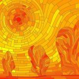 Mozaiki abstrakcjonistyczny czerwony słońce z drzewami w żółtym brzmieniu. Royalty Ilustracja