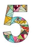 Mozaiki cyfra 5 Zdjęcia Stock