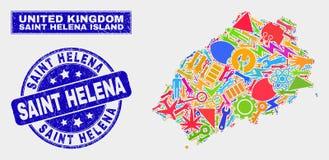 Mozaiki Helena wyspy Usługowa Świątobliwa mapa i cierpienia Helena Świątobliwy znaczek ilustracja wektor