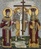 Mozaiki ikona święty Konstantin i święty Helena w serbie Orth fotografia royalty free