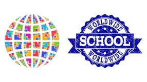 Mozaiki kuli ziemskiej i cierpienie szkoły znaczka kolaż ilustracja wektor