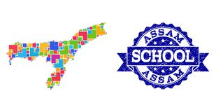 Mozaiki mapa Assam stan i Grunge szkoły foki skład royalty ilustracja