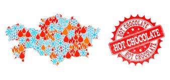 Mozaiki mapa Kazachstan ogień, płatek śniegu i Gorącej czekolady Drapający znaczek royalty ilustracja