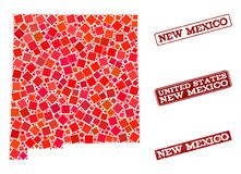 Mozaiki mapa Nowy - Mexico stan i Grunge szkoła Pieczętujemy kolaż royalty ilustracja