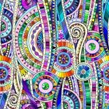 Mozaiki plemiennego doddle etniczny bezszwowy wzór Fotografia Royalty Free