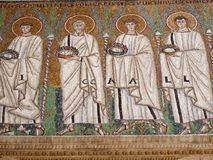 Mozaiki w bazylice Sant ` Apollinare Nuovo w Ravenna, Włochy Zdjęcie Royalty Free