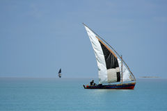 Mozambican dhow. Traditional sail boat called a dhow, Vilanculos coastal sanctuary, Mozambique Royalty Free Stock Image