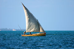 Mozambican dhow. Traditional sail boat called a dhow, Vilanculos coastal sanctuary, Mozambique Royalty Free Stock Photo