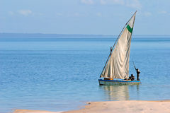 Mozambican dhow. Traditional sail boat called a dhow, Vilanculos coastal sanctuary, Mozambique Royalty Free Stock Photos