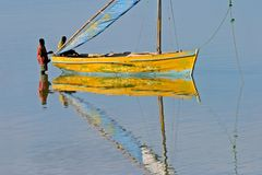 Mozambican dhow. Traditional sail boat called a dhow, Vilanculos coastal sanctuary, Mozambique Stock Photos