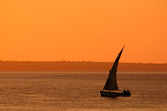 Mozambican dhow at sunset. Traditional sail boat called a dhow at sunset, Vilanculos coastal sanctuary, Mozambique Royalty Free Stock Photography