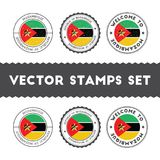 Mozambican flag rubber stamps set. National flags grunge stamps. Country round badges collection Royalty Free Stock Photos