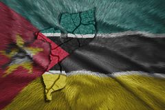 Mozambican Map. Map of Mozambique in National flag colors Royalty Free Stock Images