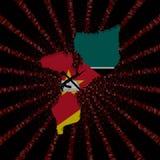 Mozambik mapy flaga na czerwonej hex kodu wybuchu ilustraci Zdjęcia Royalty Free