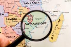 Mozambik na mapie świat obraz royalty free