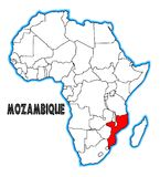 Mozambique Africa Map. Mozambique outline inset into a map of Africa over a white background Royalty Free Stock Image