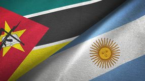 Mozambique and Argentina two flags textile cloth, fabric texture. Mozambique and Argentina flags together textile cloth, fabric texture royalty free illustration