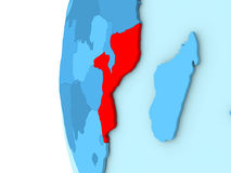 Mozambique on blue globe Stock Photography