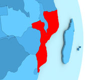 Mozambique on blue political globe Royalty Free Stock Photo