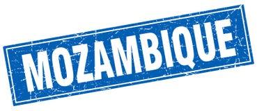 Mozambique blue square grunge vintage stamp Stock Photo