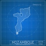 Mozambique blueprint map template with capital. Mozambique blueprint map template with capital city. Maputo marked on blueprint Mozambican map. Vector Stock Photos