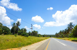 Mozambique countryside road. With green vegetation royalty free stock image