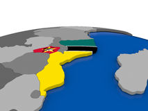 Mozambique on 3D globe Royalty Free Stock Image