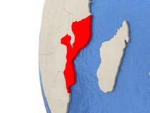 Mozambique on 3D globe Stock Photos